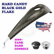 Us Stock Hard Candy Black Gold Flake Tank Dash Console Fit Harley 08-20 Touring