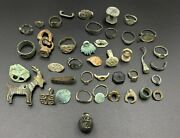 Lot Old Ancient Antique Jewelry Bronze Signet Seal Broken Rings Ear Rings Etc.