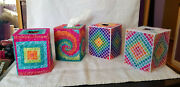 Handcrafted Needlepoint Bright Tissue Box Cover