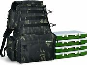 Fishing Tackle Backpack 2 Fishing Rod Holders With 4 Tackle Boxes, Large