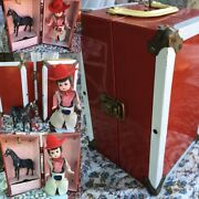Vintage Metal Red Trunk Porcelain Western Cowboy Doll Chaps And Horse 1950's