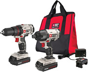 Porter-cable 20v Max Cordless Drill Combo Kit And Impact Driver, 2-tool Pcck604