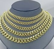 6mm-12mm 10k Yellow Gold Chain 20- 28 Miami Cuban Link Necklace Real 10k Mens