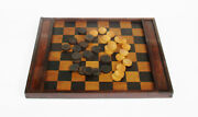 Antique 19th Century Double Sided Chess Draughts Checkers Wooden Board Game