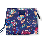 Liberty Of London British Airways Floral Pouch Cosmetic Bag Blue Wristlet Womens