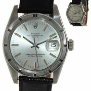 Vtg Rolex Oyster Date 1501 34mm Steel Engine Turned Silver Oyster Watch