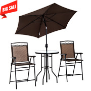 Outsunny 4pc Steel Folding Table Set With Umbrella Outdoor Patio Furniture