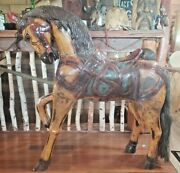 Antique 1890s Hand Painted Wood Carousel Carnival Circus Horse - Folk Art