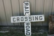 Early Porcelain Railroad Crossing Cats Eye Reflective Sign