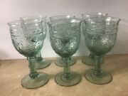 Six Depression Glass Green Goblets With Pressed Grapes Wine Glasses