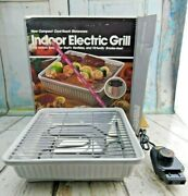 Vtg Maverick Electric Indoor Bbq Grill White Cool-touch Stoneware M-72 Tested