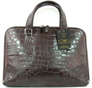 Authentic M Crocodile Belly Skin Laptop Business Bag Large Dark Brown Soft New
