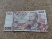 Rare Collection Austrian Otto Wagner 500 Shilling Banknote 1985 Good Gift