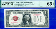 1928 1 Us Note Legal Tender - Red Seal Pmg Gem 65epq A01736086a-