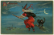 Halloween Witch Broom Black Cat Antique Embossed Raphael Tuck And Sons Postcard
