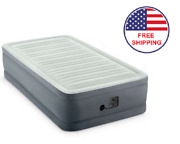 Inflatable Air Bed Mattress Elevated Twin Size Built-in Pump With Carry Bag Gray