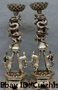 25chinese Silver Foo Fu Dog Lion Dragon Dragons Candle Stick Holder Pair Statue