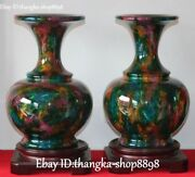 14and039and039 Exquisite Taiwan 7 Colored Jade Carving Flower Vase Bottle Statue Pair