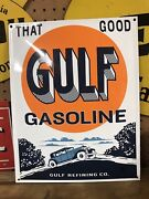 Gulf Vintage Style That Good Gulf Gasoline Porcelain Pump Plate Sign