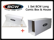 Bcw Long Comic Book Storage And House Box Thick And Stackable White Cardboard Set