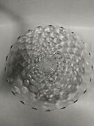 Vtg. Fostoria-american - 12andrdquo Round Cube Glass Clear 3 Footed Cake Plate/platter