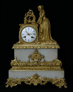Clock Bronze Golden And Marble/bronze And Marble Clock, 19th Century