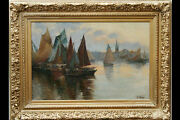 Oil On Canvas 19th, Signed P. Camus, Port Of Peach
