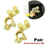 Pair Of M8 Top Post Battery Cable Terminal Pure Brass Heavy Duty Car Wire Clamp