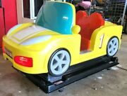 Coin Operated Interactive Kiddie Ride Yellow Car