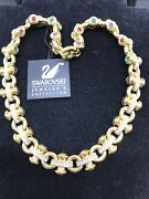 Vintage Jeweler's Collection Gold W/ Multi Colored Crystals Necklace