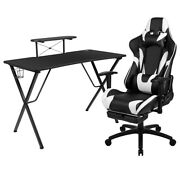 Flash Furniture Black Gaming Desk Your Station Immerses Monitor/smartphone Stand