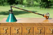 Antique Japanned Finish Sconce Lamp Light Copper Flash Vintage Green Glass Shade