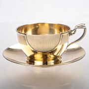 Antique French Gilt Sterling Silver Tea Coffee Cup And Saucer Set Keller Art Deco