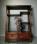 20.2 Old Chinese Dynasty Huanghuali Wood Carved Lotus Leaf 2 Drawer Stand Shelf