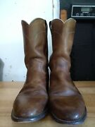 Justin Brown Leather Roper Cowboy Western Boots Style 3408/3608 Menand039s Size 9 D