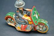 Sato Made In Japan Tin Litho Police On Motorcycle Friction Toy