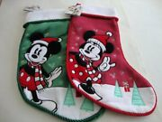 Disney Christmas Holiday 2019 Green Mickey Mouse And Red Minnie Mouse Stocking New