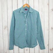 Untuckit Slim Fit Menand039s Button Front Shirt Blue Green Gingham Check Size Small