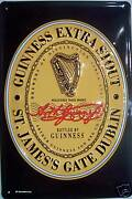 Guinness Logo Tin Sign Shield 3d Embossed Arched Metal 7 7/8x11 13/16in