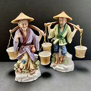 Oriental Couple Carrying Buckets Made In Japan