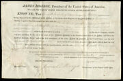 James Monroe - Land Grant Signed 09/13/1820 Co-signed By Josiah Meigs