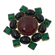 Colored Stones Brooch Fashion Accessories Brooch Gold Plated Gold Gre...