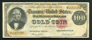 Fr 1214 1882 100 One Hundred Dollars Gold Certificate Currency Note Very Fine