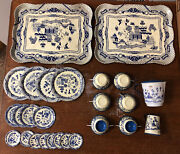 Vintage 1950's Childs Tea Set Tin Metal Toy Blue Willow 26 Pieces Made In Japan