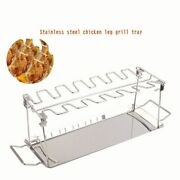 Stainles Steel Wing Leg Grill Chicken Rack Holder With Drip Pan For Bbq Foldable