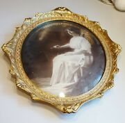 Antique 17x14 Oval Gold Plated Convex Picture Frame Crown Novelty Amr Portrait