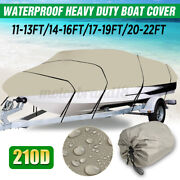 Waterproof 11-22ft 210d Heavy Duty Boat Cover For Fish Ski Bass V-hull Runabouts
