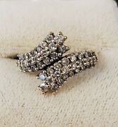 14k Gold And Diamond Bypass Ring 8566