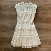 Vintage Jessica Mcclintock Ivory Off White Lace Dress Pearl Buttons Jr Size 10