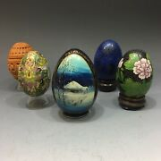 5 Easter Eggs Russian Ukranian Cloisonne Champleve Enamel Hand Painted Wood